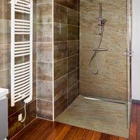 Receveur de douche caniveau en pierre naturelle 120 x 90 cm cuprus + natte étanche + siphon ultra plat