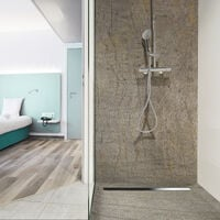 Receveur de douche caniveau en pierre naturelle 90 x 90 cm ardoise + natte étanche + siphon ultra plat