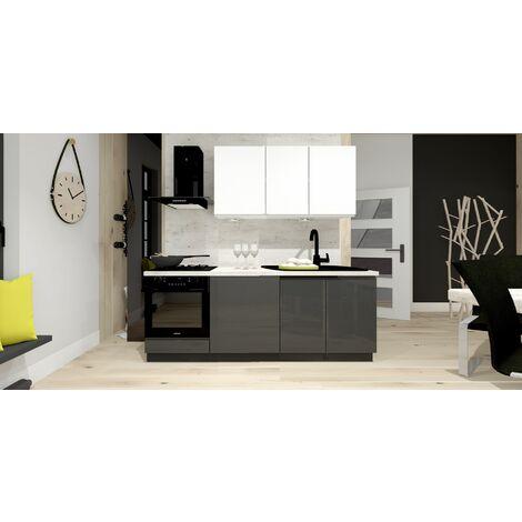 Meubles Cuisine complète NINA blanc gris laqué - 2m00 - 5 meubles - MOINSCHERCUISINE - BLANC et GRIS laqués