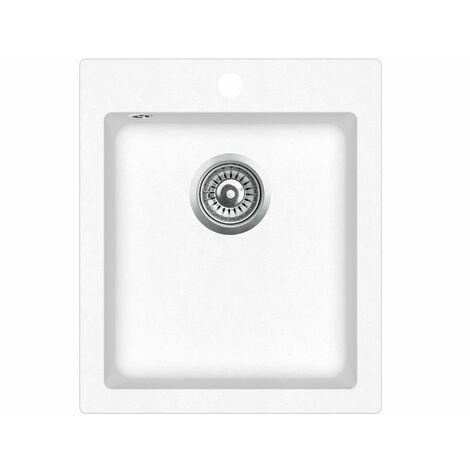 Evier granit blanc  LIVRAISON GRATUITE - carré sans égouttoir - SIMPLEX - MOINSCHERCUISINE