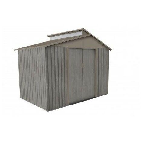 Abri de jardin en métal aspect BOIS VIEILLI - 5,4 m²