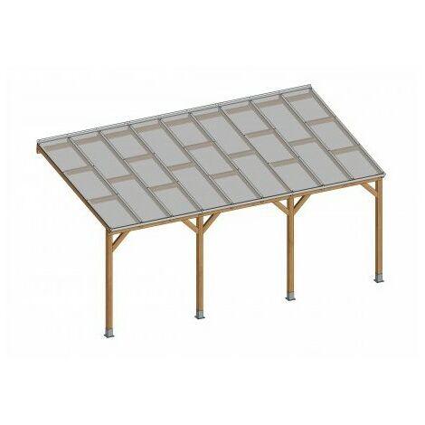 Toit Couv'Terrasse® en bois 3x5,5 m - Avec toit polycarbonate