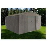 Abri de jardin en métal aspect BOIS VIEILLI - 9,66 m²