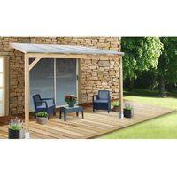 Toit Couv'Terrasse® en bois 3x3 m - Avec toit polycarbonate