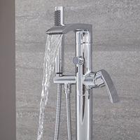 Hudson Reed Razor Rubinetto Miscelatore Vasche Freestanding - Gruppo Vasca da Terra con Doccetta - Ottone Cromato - 955 x 176 x 171mm