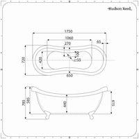 Hudson Reed Elton Vasca da Bagno Freestanding Grigio Pietra - Design Moderno Centro Stanza a Doppio Schienale Alto - Piedini Tradizionali Cromati - 1750 x 730 x 770mm