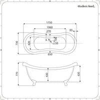 Hudson Reed Elton Vasca da Bagno Freestanding Grigio Pietra - Design Moderno Centro Stanza a Doppio Schienale Alto - Piedini Tradizionali Oro Spazzolato - 1750 x 730 x 770mm