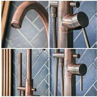 Hudson Reed Amara Gruppo Vasca Freestanding con Doccetta - Rubinetto Miscelatore a Terra per Vasche da Bagno - Ottone Rame Spazzolato - 1190 x 160mm
