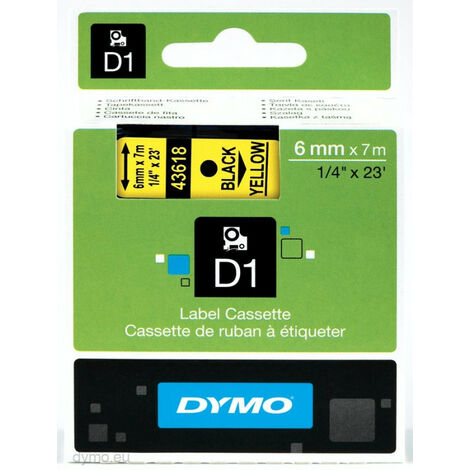 Dymo Ruban D1 standard - Noir sur jaune - Polyester - -18 - 90 °C - DYMO - LabelManager - LabelWriter 450 DUO - Boîte (S0720790)