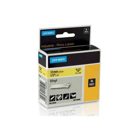 Dymo Ruban pour imprimante etiquettes 18432, S0718450, 12mm, 5,5m, yellowRHINO vinyl (18432)