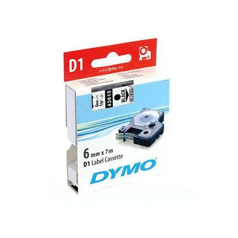Dymo Ruban pour imprimante etiquettes 43610, S0720770, 6mm, 7m, noir, printing/transp (43610)