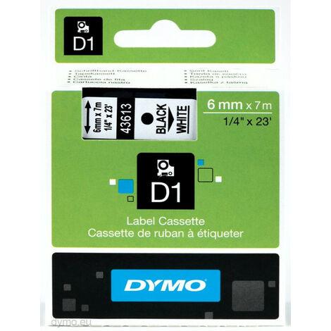 Dymo Ruban pour imprimante etiquettes 43613, S0720780, 6mm, 7m, noir, printing/whiteD (43613)