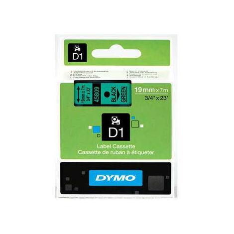 Dymo Ruban pour imprimante etiquettes 45809, S0720890, 19mm, 7m, noir, printing/green (45809)