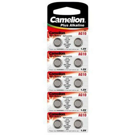 Pack de 10 piles Camelion Alkaline AG10 (12001010)