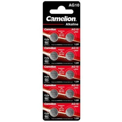 Camelion Pack de 10 piles Alcaline AG10 0% Mercury/Hg (12051010)