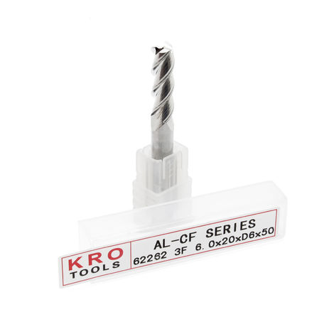 Fraise à queue 3 dents KRO Ø 6mm Longueur 20mm Cannelure Acier au Tungstène Haute performance CN