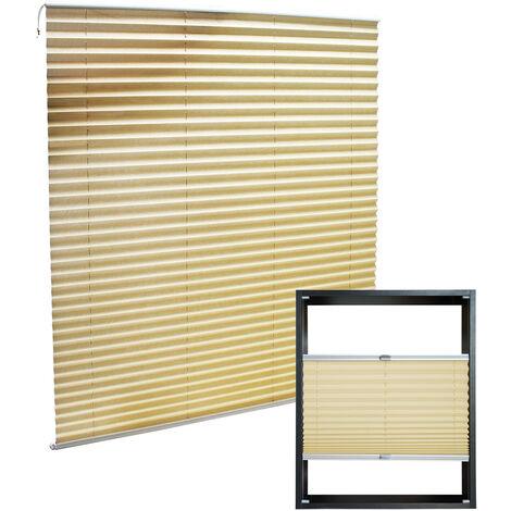 Store en crème 45x100cm Store plissé Pare-vue Moderne Rideau occultant de fenêtre Persienne