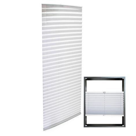 Store blanc 65x200cm Store plissé Pare-vue Moderne Rideau occultant de fenêtre Jalousie
