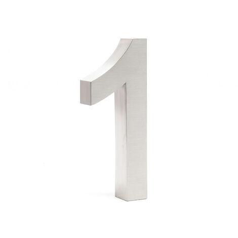 """Plaque Numéro Maison Chiffre """"1"""" 3D 20cm Acier inoxydable Résistant Intempéries Matériel Fixation"""