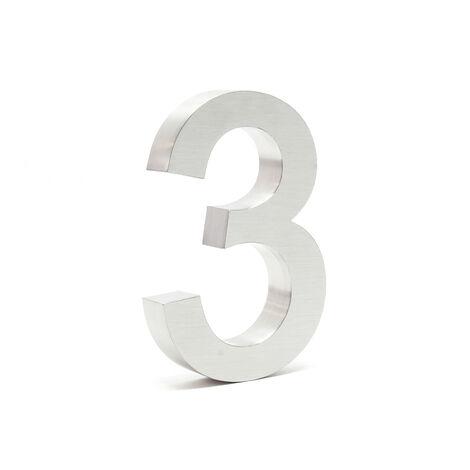 """Plaque Numéro Maison Chiffre """"3"""" 3D 20cm Acier inoxydable Résistant Intempéries Matériel Fixation"""