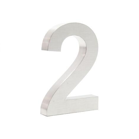 """Plaque Numéro Maison Chiffre """"2"""" 3D 20cm Acier inoxydable Résistant Intempéries Matériel Fixation"""