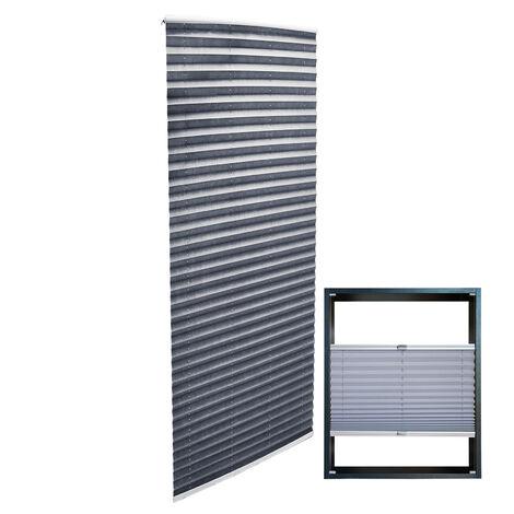 Store gris 55x200cm Store plissé Pare-vue Moderne Rideau occultant de fenêtre Jalousie