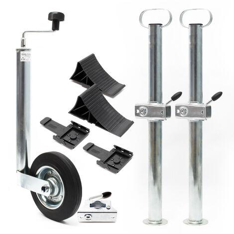 Kit Béquille de remorque 10 pièces Roue Jockey Support Borne de serrage Cales de roue jusqu'à 150 kg