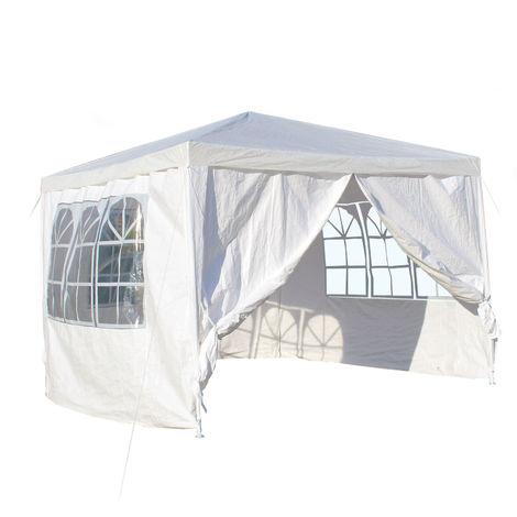 Tonnelle de jardin 3x3m Blanche avec panneaux latéraux amovibles Grandes fenêtres Tente Fête Camping