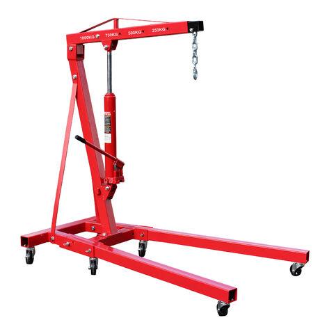 Grue d'atelier pliable Charge 1000kg Max. Bras de levage 960-1240 mm Chèvre de levage Atelier Garage