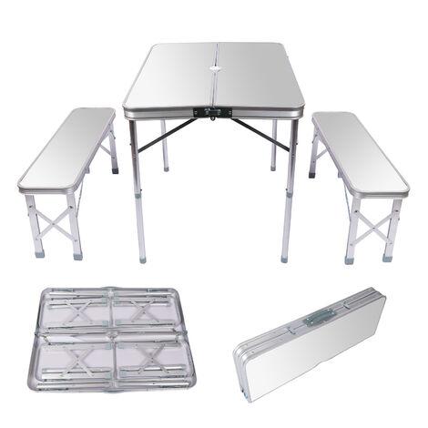 Table pliante Valise Alumium Deux bancs 90x66x70 cm Couleur argent Table de camping Fête Barbecue
