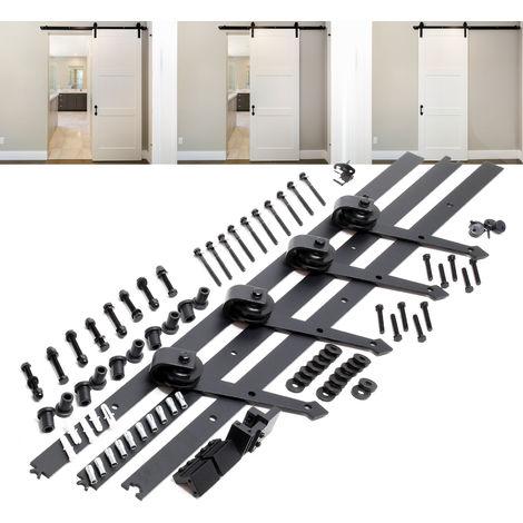 Système pour porte coulissante Système galandage pour 2 portes Rail de 366 cm jusqu'à 150 kg