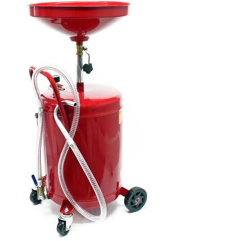 Ramasseur d'huile pour 80l avec réglage en hauteur et châssis à 4 roues