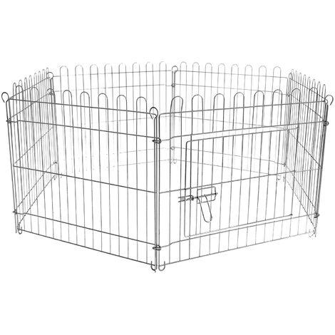 Parc pour chiens Enclos pour chiots 6 pièces 60x60 cm par élément Cage pour animaux domestiques
