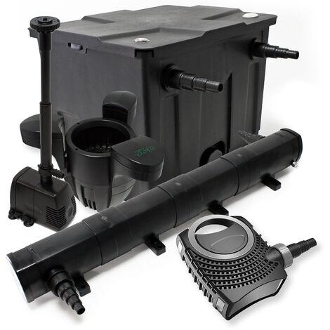 Kit de Filtration Bassin 12000l Stérilisateur UVC 72W 80W Pompe éco Fontaine Ecumeur