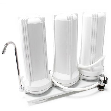 TR203 3 Etapes Filtre sur évier Acier Filtre à Eau 5µ Filtre Charbon actif bloc