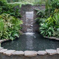 Lame d'eau pour piscine Bassin Étang 90cm LED Acier affiné Cascade Chute d'eau Fontaine Jardin