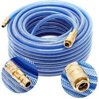 Tuyau d'air comprimé PVC 20m Compresseur Flexible pneumatique Gaine en tissu Raccord rapide