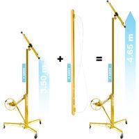 KIT: Lève panneaux, lève plaques de plâtre Pro 350cm + 140cm Extension bar max 465cm 68kg