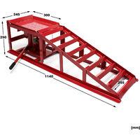 Rampe de voiture 2x avec Cric hydraulique 2000kg Réglable en hauteur Rampes d'accès Chargement