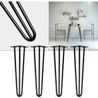 Pieds de table Support de table Set 4 pcs. Hairpin Legs Pieds de table épingle à cheveux Noir 30cm