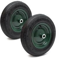 Lot 2 roues complètes Brouette 3.50-8 Pneu Jante métal Chambre air