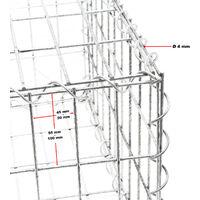 Gabion 100x50x30cm Mur en pierre Paroi Bordure de jardin Espalier Grillage métallique Clôture Panier