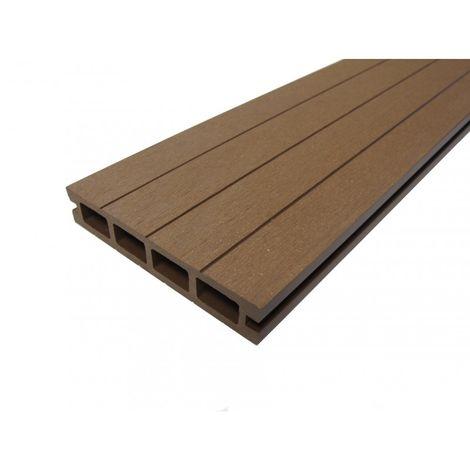 Lame terrasse bois composite alvéolaire Qualita L 360 cm / l14 cm / ep 2,5 cm - Coloris - Terre cuite, Epaisseur - 25mm, Largeur - 14 cm, Longueur - 360 cm, Surface couverte en m² - 0.5
