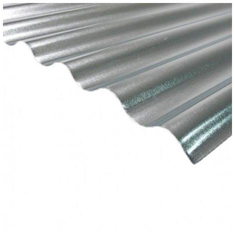 Plaque acier galvanisé petites ondes - Coloris - Gris, Largeur totale de la plaque - 90cm, Longueur totale de la plaque - 2m