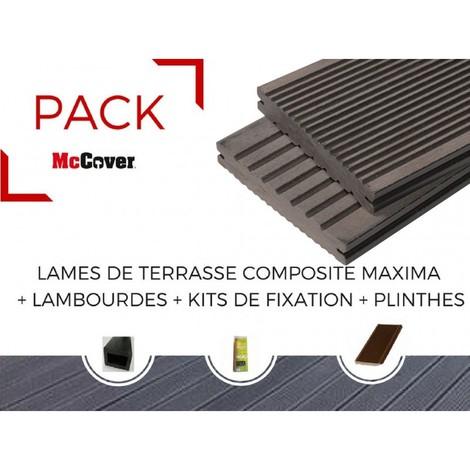 PACK 1 m² lame de terrasse composite Maxima ACCESSOIRES (3 coloris) 3600 mm - Coloris - Brun rouge, Epaisseur - 22mm, Largeur - 14 cm, Longueur - 360 cm, Surface couverte en m² - 1