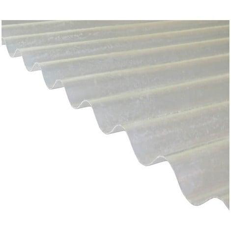 Plaque polyester ondulée toit translucide (PO 76/18 - petite onde) - Coloris - Translucide, Largeur totale de la plaque - 90cm, Longueur totale de la plaque - 1.52m