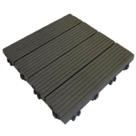 Dalle de terrasse bois composite Modular 30 x 30 cm / ep 2,5 cm - Coloris - Gris carbone, Largeur - 30 cm, Longueur - 30 cm, Surface couverte en m² - 0.091 par dalle soit 11 dalles pour 1