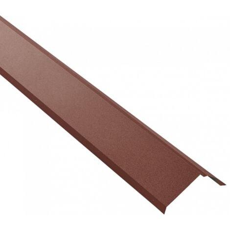 Bande de rive toiture acier galvanisé laqué mat aspect tuile L1,20 m - Coloris - Brun rouge mat, Longueur - 1,20 m