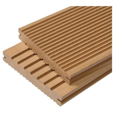 Lame terrasse bois composite plein Maxima L 360 cm / l 14 cm / ep 2,2 cm - Coloris - Beige clair, Epaisseur - 22mm, Largeur - 14 cm, Longueur - 360 cm, Surface couverte en m² - 0.5