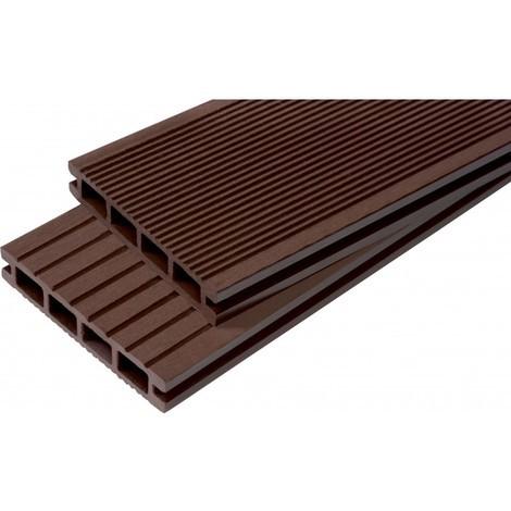 Lame terrasse bois composite alvéolaire Dual - Coloris - Chocolat, Epaisseur - 25mm, Largeur - 14 cm, Longueur - 240 cm, Surface couverte en m² - 0.34